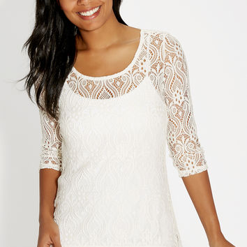 lace tunic top with sheer hem