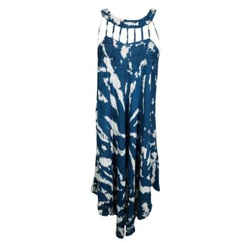 Mogul Womens Tie Dye Blue Sundress Embroidered Sleeveless Flare Stylish Summer Fashion Hippie Chic Tank Dresses - Walmart.com