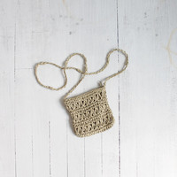 Vintage 90s Pale Green Woven Rattan Pouch Purse
