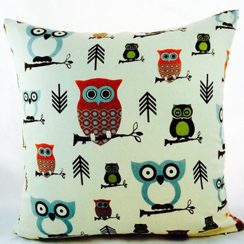 SampleSale Hooty Owl Village print pillow slipcover from Premier Prints