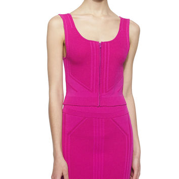Sleeveless Zip-Front Crop Top, Fuchsia, Size: