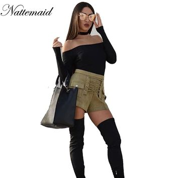 NATTEMAID Green suede leather boot cut Fashion ladies Casual High waist Pants & Capris loose short Trousers front tie up Bottom