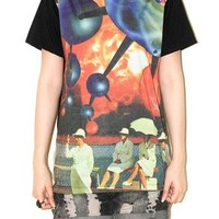Atom Structure Photo Short Sleeve Colorful Punk Rock T-Shirt Size M
