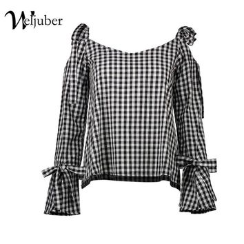 Weljuber Women plaid Blouse Summer Beach Blouse with bow Sexy Women hollow out Tops and Blouse Ladies Shirt Hot Sell