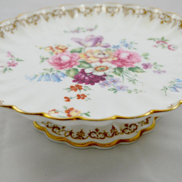Pedestal Cake Plate in Porcelain by Staffordshire England's Bouquet Pink and Gold