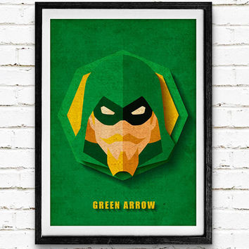Green Arrow Watercolor Art Print Vintage Poster, DC Comics Superhero, Nursery Room Wall Art, Home Decor, Not Framed, Buy 2 Get 1 Free