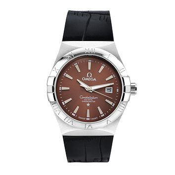 Omega brand fashion trendy men and women watches F-SBHY-WSL Black + silver case + brown dial