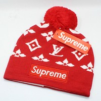 Louis Vuitton X Supreme Women Men Fashion  Casual  Hat Cap