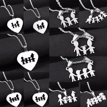 Family Mom Dad Love Son Daughter Necklace Gifts Stainless Steel Heart Pendant Boys Girls Kids Mothers Fathers Necklaces Jewelry