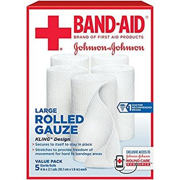 Band-Aid Brand Of First Aid Products Rolled Gauze, 4 Inches By 2.1 Yards, 5 Count Value Pack