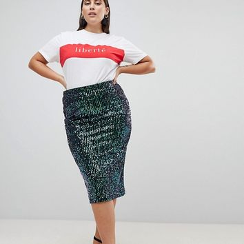 Lost Ink Plus Pencil Midi Skirt In Premium Sequin at asos.com