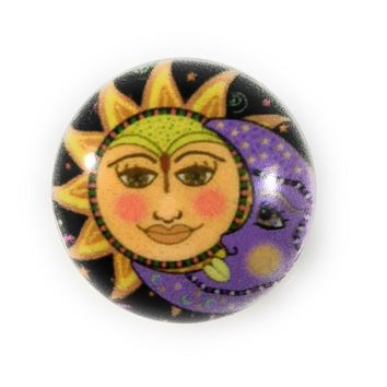 "Snap Charm Enamel Sun Moon Painted Snap 20mm 3/4"" Diameter Fits Ginger Snaps"