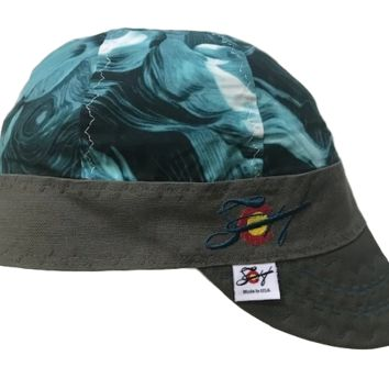 Teal Paint Strokes Embroidered Hybrid Welding Cap
