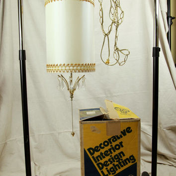 Sale New Old Stock Vintage Crystal Swag Shade Chandelier, Never Used, Hollywood Regency Light