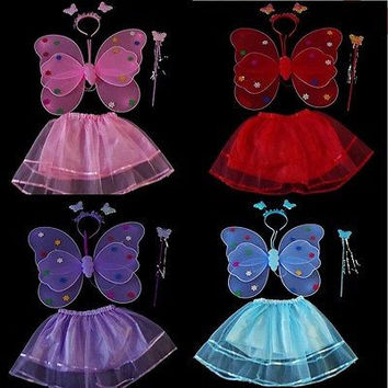 4pcs/ Set Butterfly Wing Wand Headband Dress baby Girl Fairy Princess Infant kids Girls performance Stage Costume