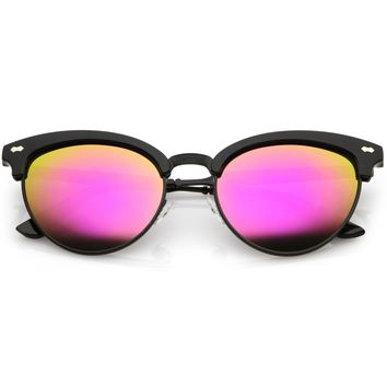 Women's Retro Half Frame Horned Rim Mirrored Lens Sunglasses C224