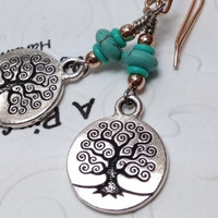 Tree of Life Turquoise Earrings,Rose Gold,Teal Tree of Life,Tree of Life Charm,Teal Earrings,Coin Earrings,Tree of Life Coin,Green Tree,Teal