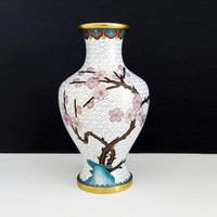 Vintage brass enamel cloisonne vase with cherry blossom pink flowers with gold trim - Asian home decor - Japanese or Chinese vase