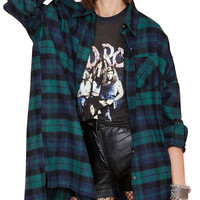 Turn-Down Collar Plaid Pattern Shirt