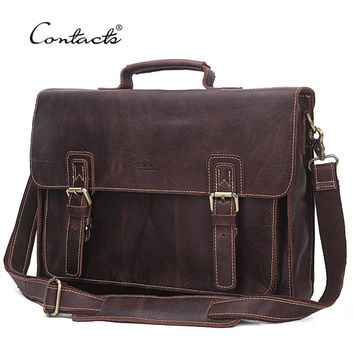 "CONTACT'S 2018 14"" Laptop Messenger Bags Vintage Genuine LeatherMen Shoulder Bag With Middle Zipper Pocket Leather Strap Men Bag"