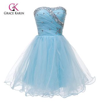 Short Prom Dresses 2017 Grace Karin Volie Blue White Pink Beaded Puffy Dress Homecoming Party Dress Sweetheart Prom Gowns 4503