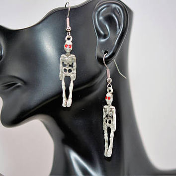 Skeleton Earrings, Halloween Earrings, Red Eyed Skeleton Earrings