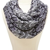 Mixed Tribal Print Infinity Scarf