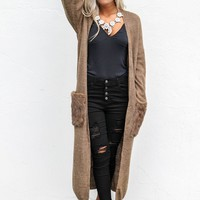 Let It Happen Long Sleeve Cardigan With Furry Pockets