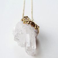 SALE Vanilla Quartz Crystal Necklace - Gold Filled - OOAK