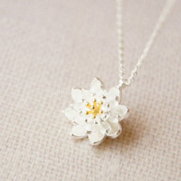 Necklace-925 Sterling Silver necklace,lotus necklace,dainty flower necklace with silver chain