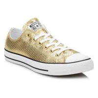 Converse Gold Metallic Leather Trainers