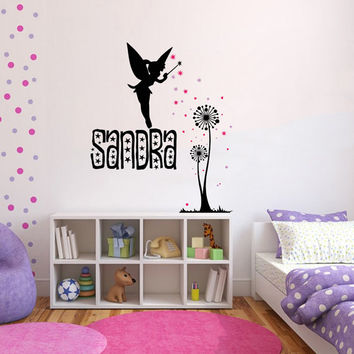 Personalized Name Decal Nursery Room Wall Decal Fairy Dandelion Vinyl Sticker Wall Decor Home Interior Design Art Mural U-22