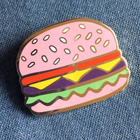 Pink Burger Hard Enamel Lapel Pin- Cute Quirky Cheeseburger Pin Badge