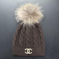 Chanel Women Embroidery Beanies Knit Hat Warm Woolen Hat Cap