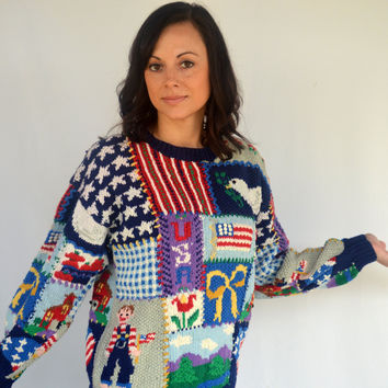 90s Vintage Hand Knit Patriotic Sweater