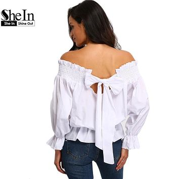 SheIn Korean Fashion Clothing Casual Tops For Women Hot Sale Plain White Off The Shoulder Bow Back Long Sleeve Blouse