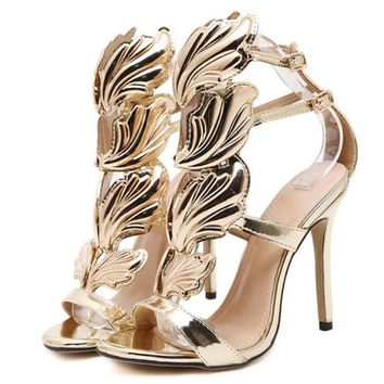 High Heels Winged Leaves, Stiletto Gladiator Sandals (Size 4-9)