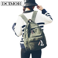 DCIMOR Women School Backpack For Teenage Girls Large Capacity Female Canvas Backpack Unisex Student Schoolbag Mochila Escolar