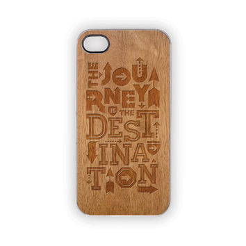 Engraved Journey iPhone Case, 5, 4S/4, Faux Wood Case, Protective, Rustic, Woodland, Outdoors, Men, Him, Her, Country, Zen, Faith