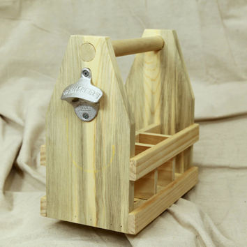 Handcrafted 12oz Six Pack Wooden Beer Carrier With Bottle Opener / Wood Beer Tote / Beer Caddy