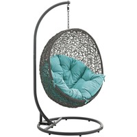 Hide Outdoor Patio Swing Chair With Stand Gray Turquoise EEI-2273-GRY-TRQ