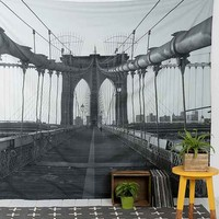 Brooklyn Bridge Tapestry- Black & White One