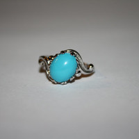 Size 7 Turquoise Robins Egg Vintage Sterling Silver Ring Size 7 - free ship US