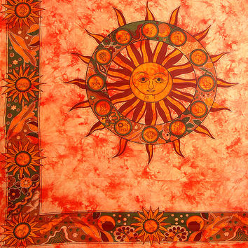 Sun Tapestry Tapestries , Sun Tapestry Wall Hanging, Hippie Sun Tapestry, Cotton Bed cover, Bed Sheet, Throw, Wall Hanging,Decorative Art