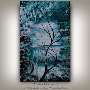 LANDSCAPE PAINTING Abstract painting on canvas large frost landscape tree art blue turquoise artwork tree of life by Nandita Albright