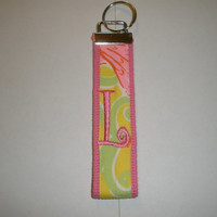 Lilly Pulitzer Monogrammed KeyFob Keychain Wristlet with shell fabric