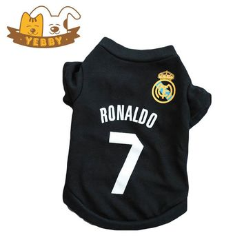 Small Dog Football Hoodies Teddy Puppy Sport Real Madrid C Ronaldo 7 Shirt Vest Pet Clothes Costume