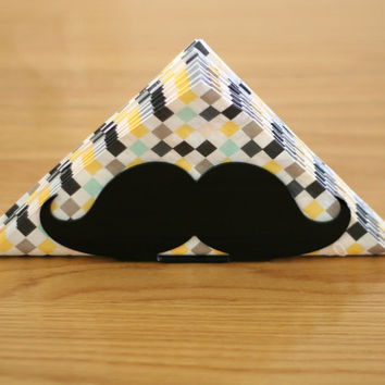 Mustache party, black napkin holder, mustache gift, hipster decor, moustache, gift for boyfriend, gift for him, kitchen, tabletop