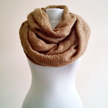 Knitwear infinity Scarf,Extra Large Tricot Scarves,Brown Infinity Scarf