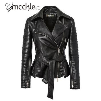 MCCKLE Women's PU Leather Motorcycle Jackets 2016 Autumn winter turn down collar hi-street woman Harajuku Zipper Jacket Coats
